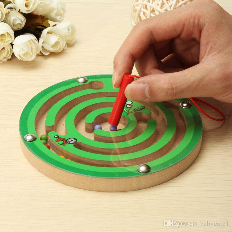Neue Ankunft Kinder Runde Holz Puzzle Magnet Perlen Slot Maze Brettspiel Lernspielzeug Lernen Intelligenz Spiel Für Kinder