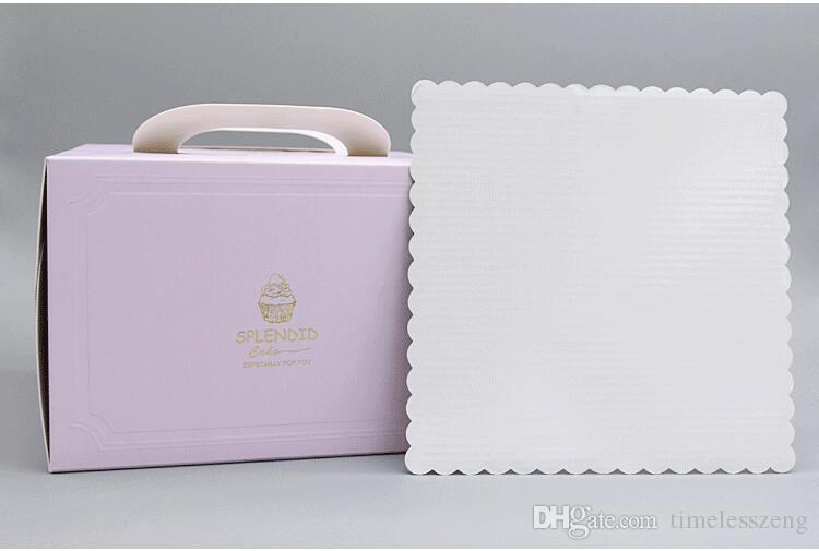 6 inch and 8 inch Portable Handle Bakery Cake Boxes European Gold Foil Biscuit Cake Box Mousse Cookies Pastry Packaging Boxes