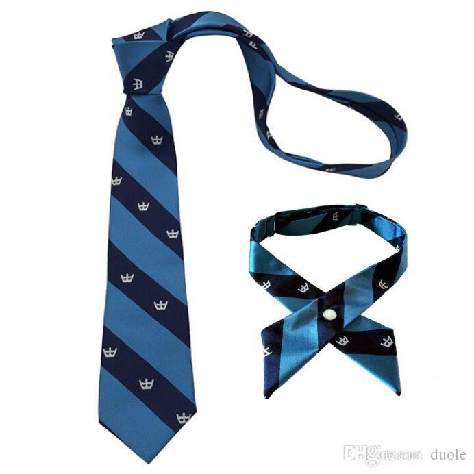 striped neck tie cross bow tie blue set school uniform necktie