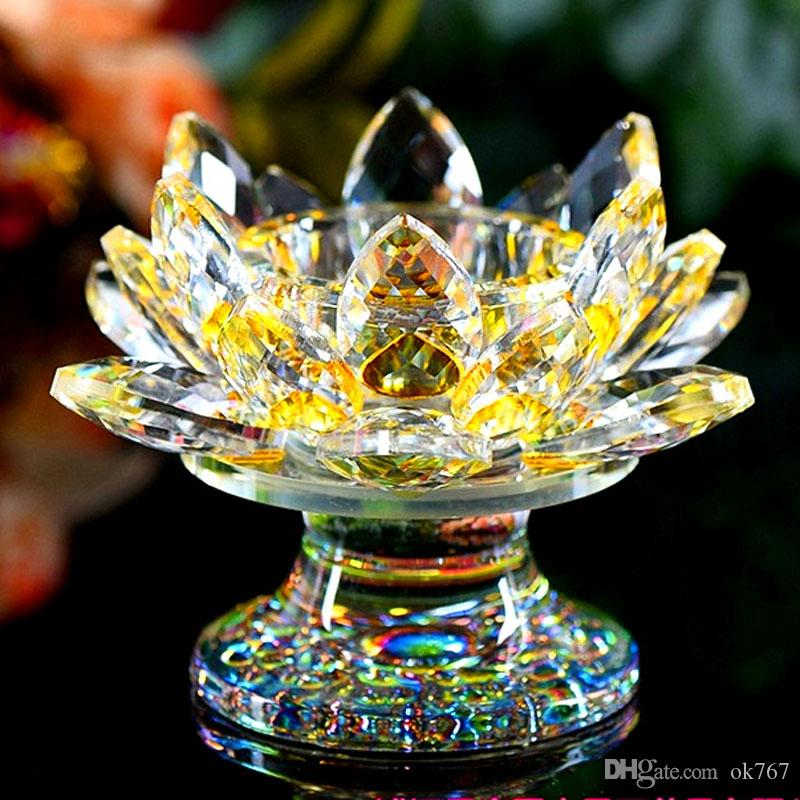 9*11CM Crystal lotus candle holder Butter lamp holder Crystal candle table Decoration souvenirs Craft Gift Buddhism supplies