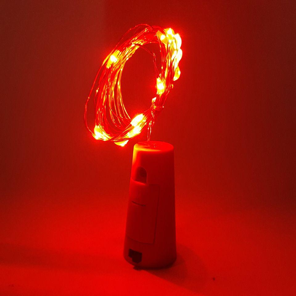 2 متر 20-LED النحاس الفضة سلك الصمام سلسلة الخفيفة مع زجاجة سدادة للزجاج كرافت زجاجة الجنية الأحبة الزفاف الديكور مصباح حزب