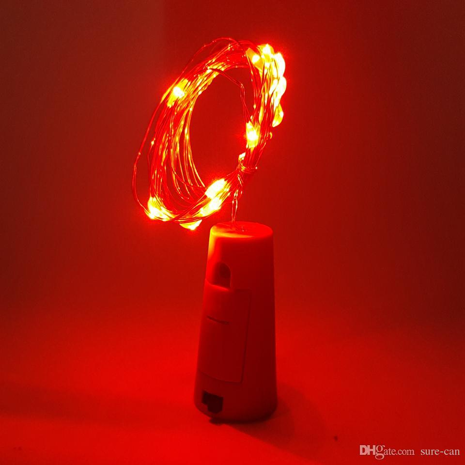 Botella de vino Cork Fairy Lights Tapón de botella Tapón LED String 2m 20leds Silver Wire String Lights Batería Powered Christmas Boda Decoración