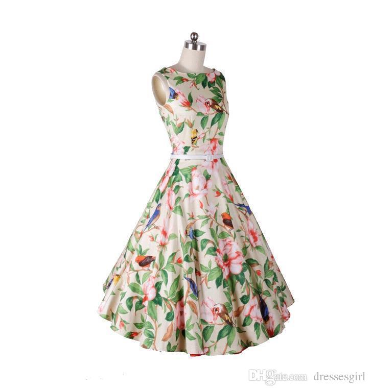 Hot Summer Floral Casual Dresses 2016 Rockabilly Sleeveless Knee Length Audrey Hepburn Style Women Cheap Party Wear Clothing OXL501