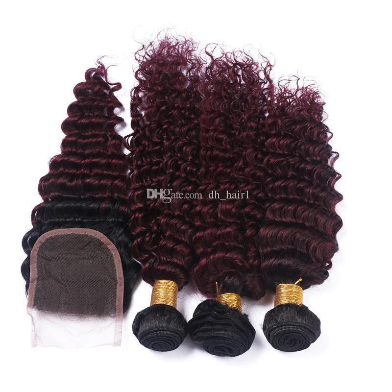 Brazilian Deep Wave Ombre Hair With Closure 1B 99J Burgundy Dark Roots Human Hair 3 Bundles With Closure Curly Hair