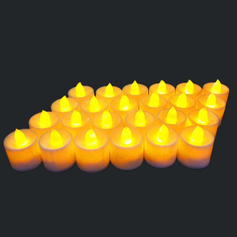 24 pz / set LED Elettronico Candle Lights Festival Celebration Lampadina Flickering Lampadina Falso Elettrico Lampadina Senza Fiamma Batteria HH7-170