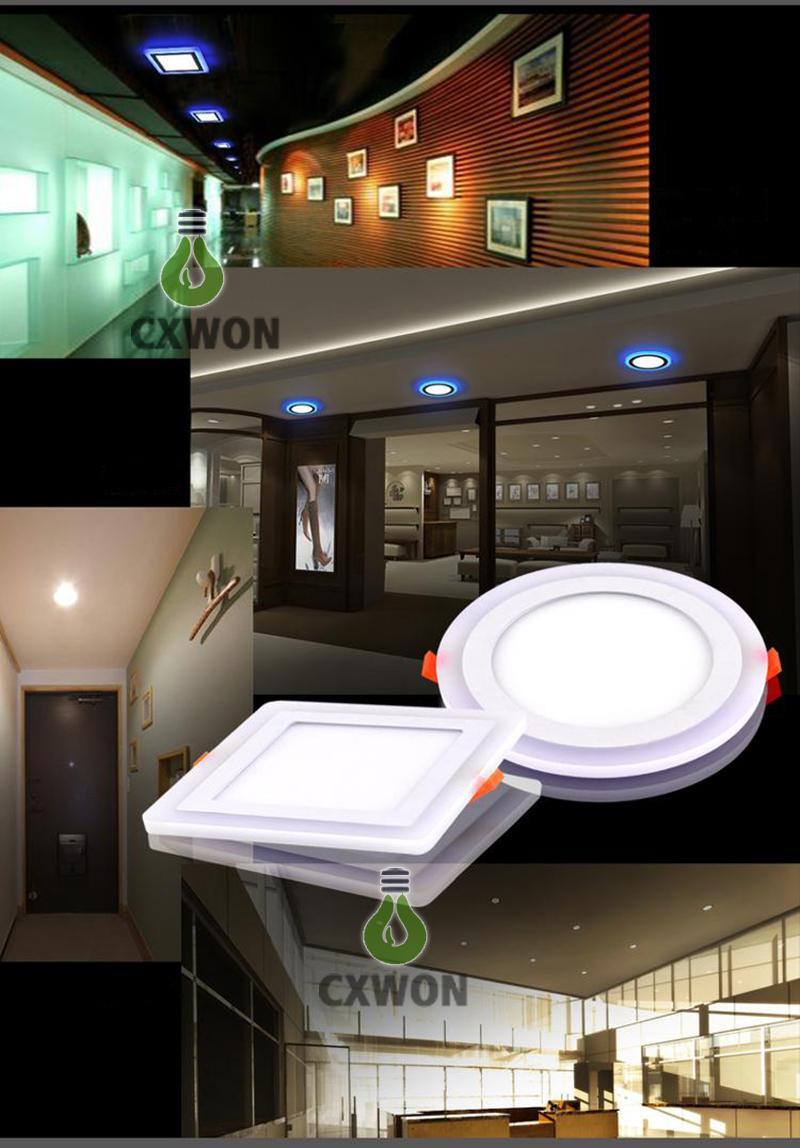 colori doppio pannello sottile le luci a LED blu + raffreddi / bianco caldo LED ha messo Lampada da soffitto Piazza acrilica rotonda 85-265V decorazione interna 9W 16w 24w
