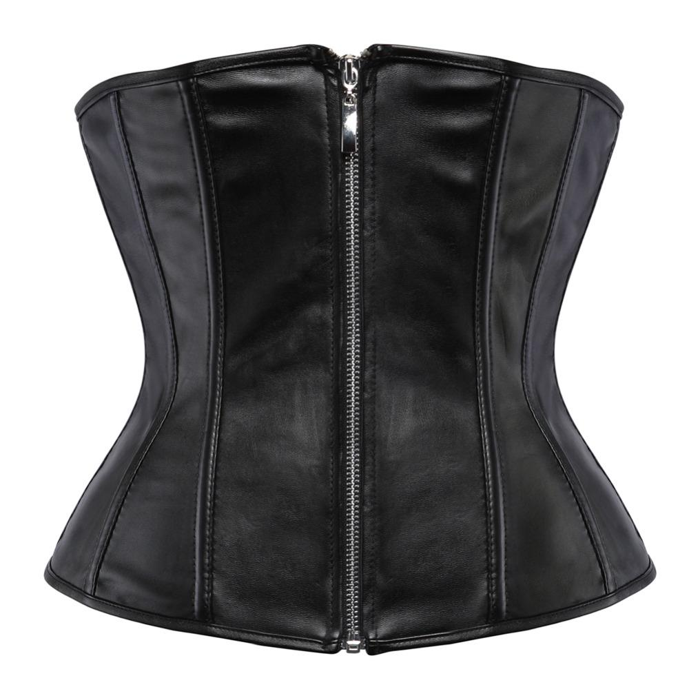 af15ca4f95 2019 Black Faux Leather Underbust Corset Zipper Front Lace Up Boned Wait  Slimming Bustier Plus Size S 2XL From Erindolly360c