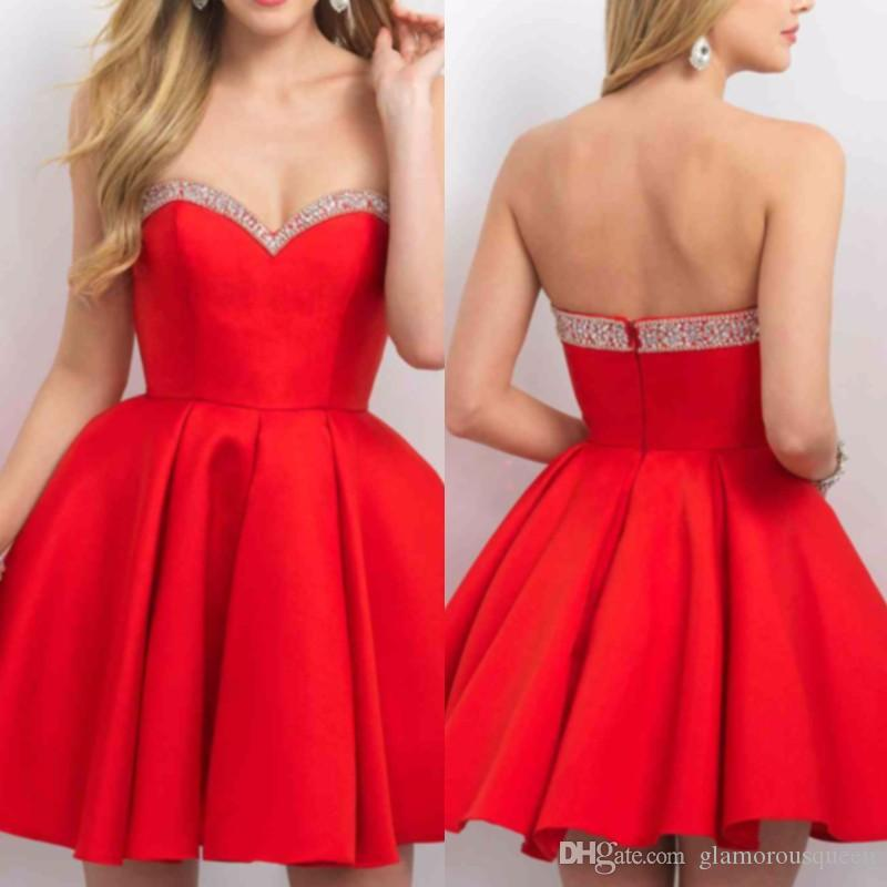 Cute Red Satin Sweetheart Girls Short Prom Dresses Formal Evening Party Dress Short Red Homecoming Dress