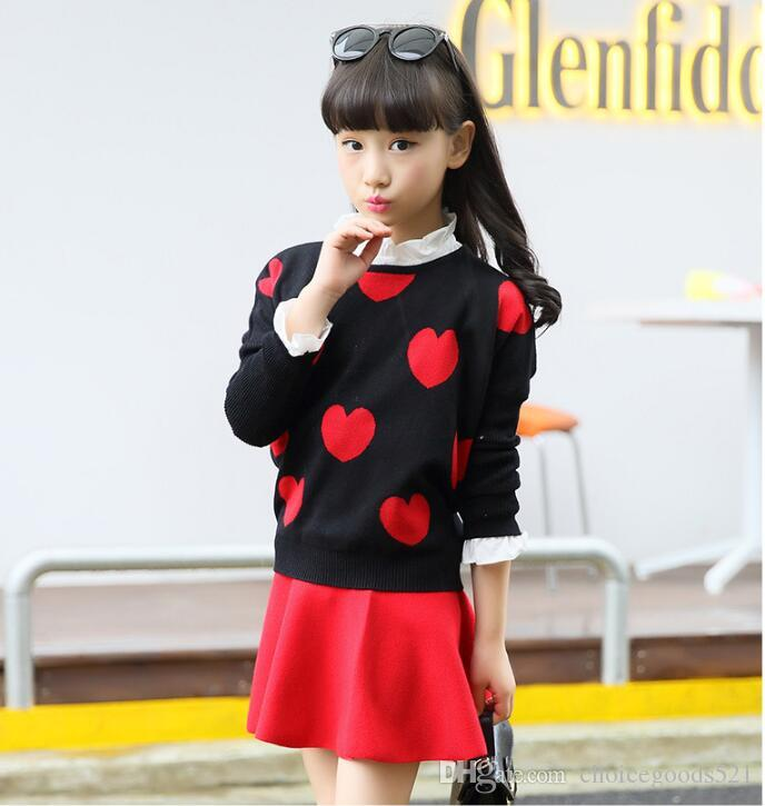 caab1543384 Autumn Winter Kids Outfits Red Black Color Star Heart Patterns Sweater Kids  Outerwear Girls Sweater for 4~16 Year Kids