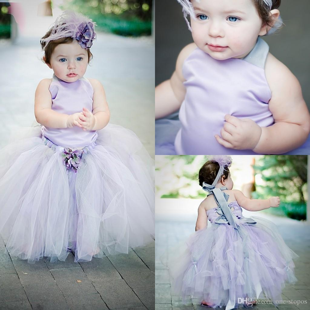 5ce737e63e Little Baby Toddler Flower Girl Dresses Lavender Satin Halter Tulle Ball  Gowns Girl Pageant Dresses Tow Piece Birthday Party Dress MC0205