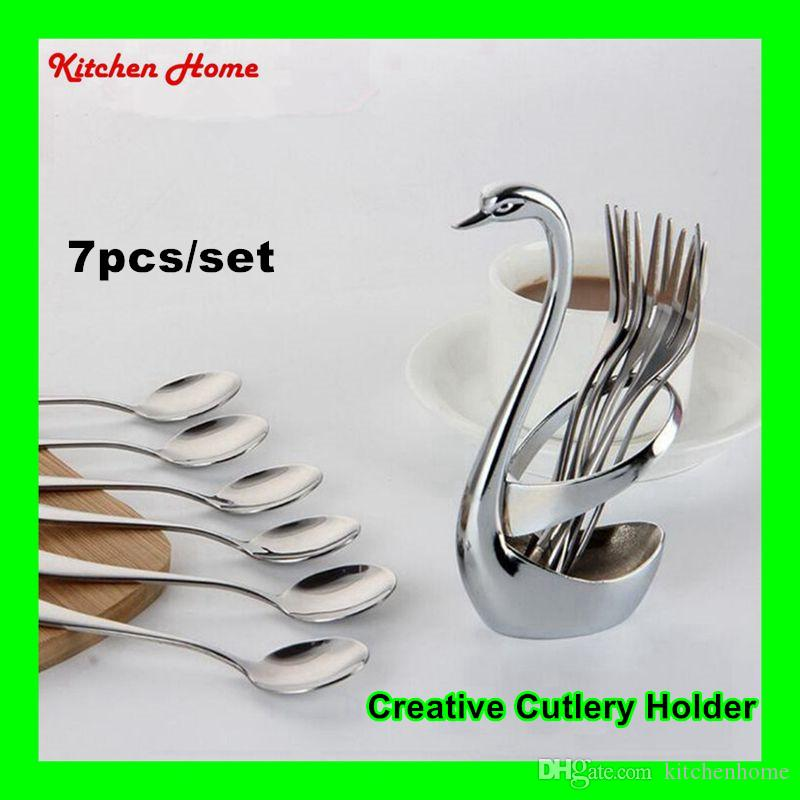 2017 Creative Swan Cutlery Stand Utensils Holder With Stainless Steel Fruit  Fork And Spoon Kitchen Cutlery Set Cooking Flatware Sets From Kitchenhome,  ...