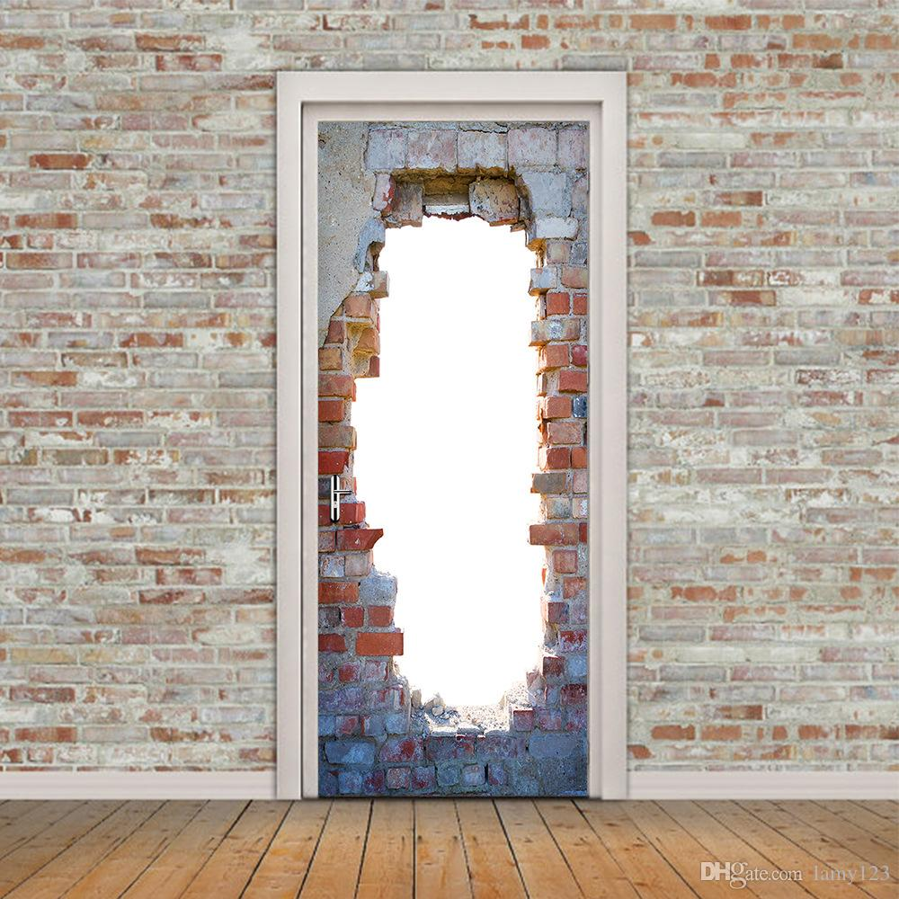 """Wholsale DIY 3D Vintage Brick Door Wall Mural Wallpaper PVC Removable Stickers for Home Living Room Decoration Murals 30.3x78.7"""" ,Multicolor"""