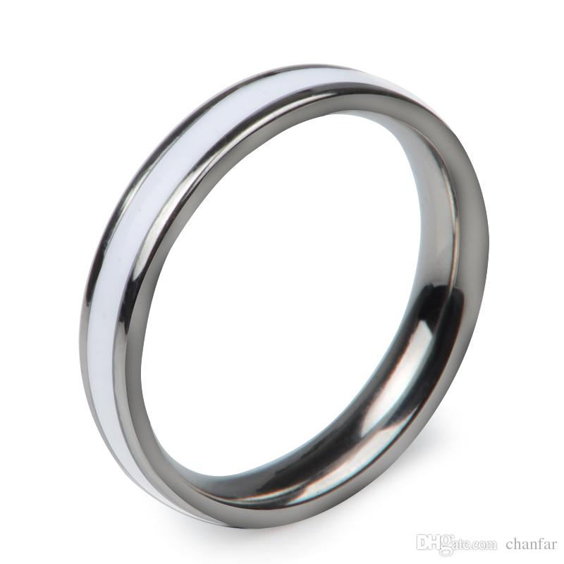 New fashion 4mm width black and white enamel ceramic ring gold plated 316L stainless steel lovers wedding band ring for couple
