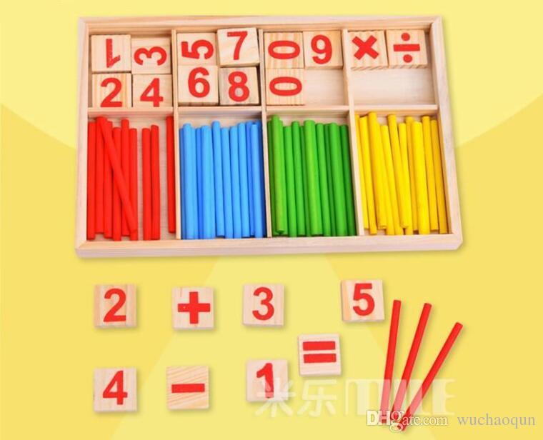 Educación Juguetes Palos De Para Montessori Bebés Contar Bloques Caja Inteligencia Matemática Construcción Madera IWE2YDH9