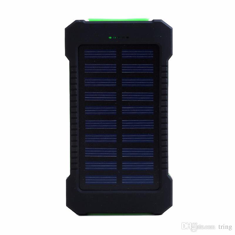 20000mAh 보편적 인 2 개의 USB 항구 태양 힘 은행 은행 충전기 iPhone를위한 소매 상자를 가진 외부 백업 건전지 Samsung cellPhone charger