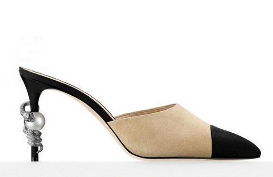 high quality~u618 40/41/42 genuine leather pointy snake pearl heels slides mules shoes luxury designer beige white black