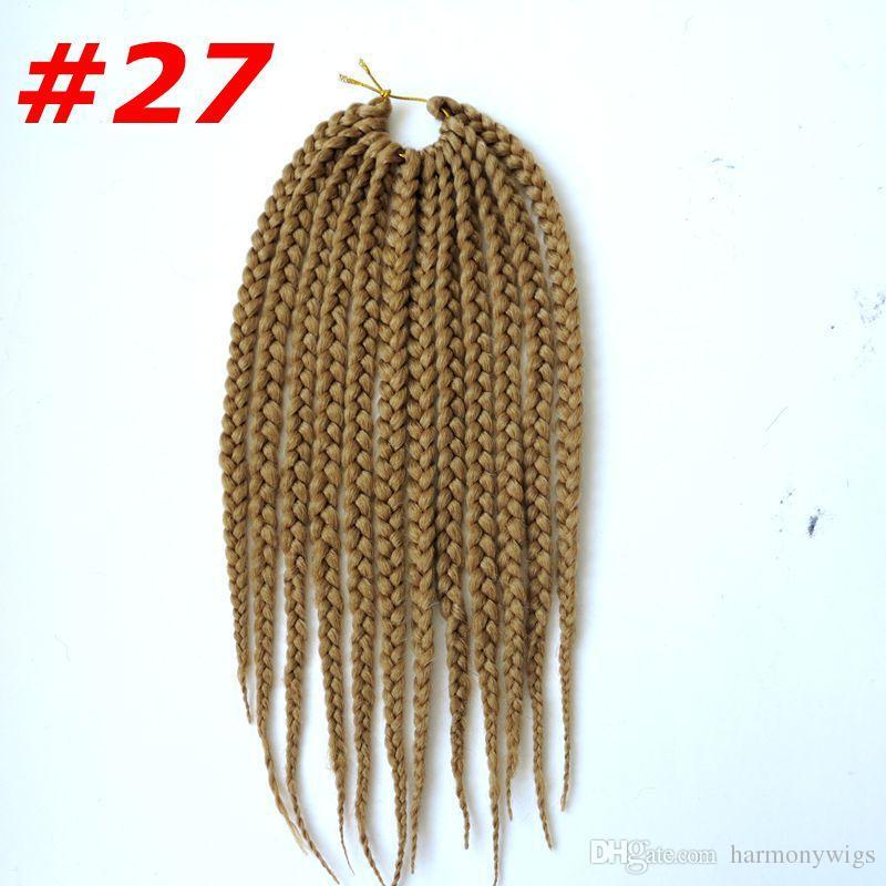Kanekalon Synthetic braiding hair Bulk Crochet Box Braids 12inch 75g 3X Twist Synthetic hair extensions hot sale