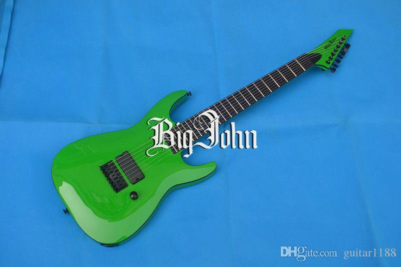 new 7-strings electric guitar in green with black hardware and ebony fingerboard made in China + free shipping F-3006