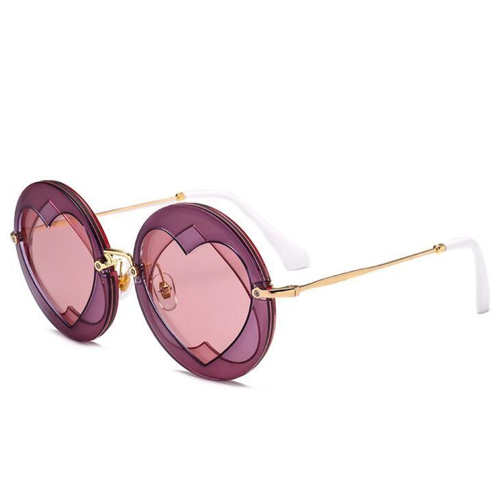 cdedc123b5d Summer Round Sunglasses Women Popular Brand Loving Heart Style Sun Glasses  Lady Shades Fashion Female Vintage Glasses double love heart