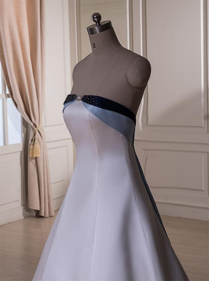 Elegant A-line Satin Strapless Wedding Dress stitching together Bridal Gown Beaded Embroidery Zipper Back Chapel Train
