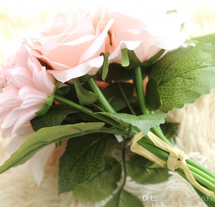 1 Букет 30 СМ Розы Георгины Ромашки Шелковый Цветок Свадебный Букет Искусственные Цветы Осень Яркий Поддельный Лист Свадебные Букеты Украшения