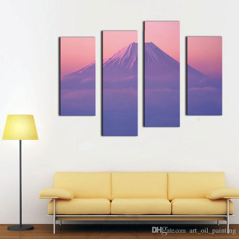 4 Picture Combination Wall Art Painting For Home Decorative Peak Of Mount Fuji Blossom Sakura In Pink Sky View From Japan
