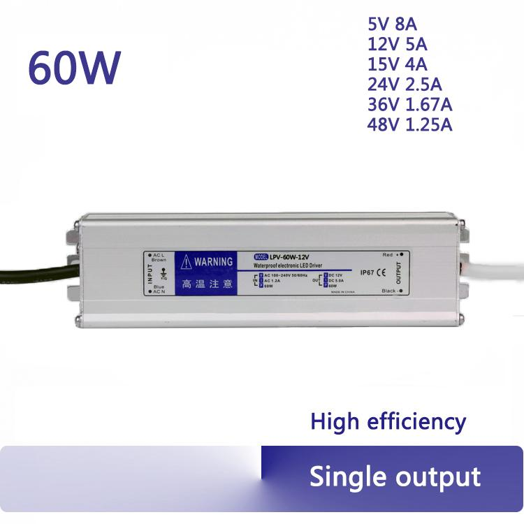ac to dc 60W 12V 15v 24V 36V 48V waterproof switching power supply constant  voltage IP67 led driver top quality
