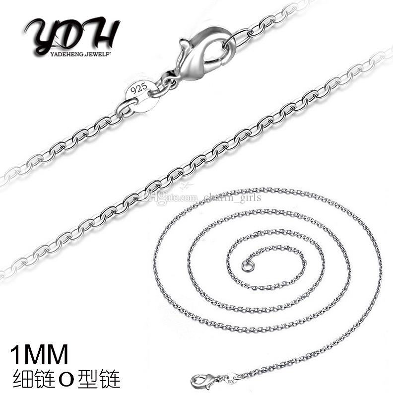2016 Hot sales O Type 1MM 16' 18' 20' 22' 24' 26' 28' 30' 925 Silver Chain Necklace High Quality with