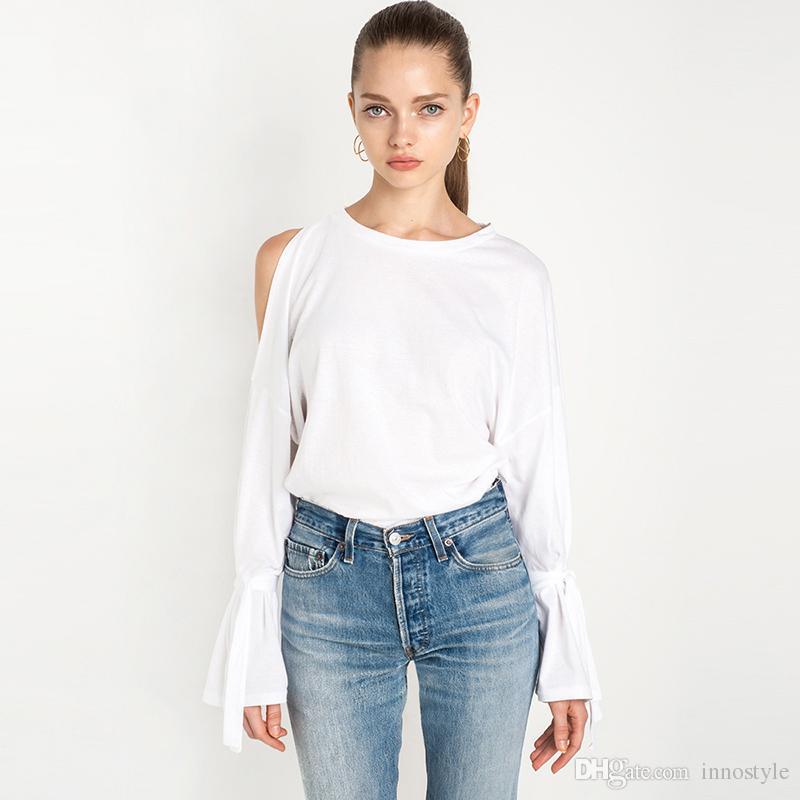 White Long Sleeve Cold Shoulder T Shirts Women Asymmetric Tshirts ...