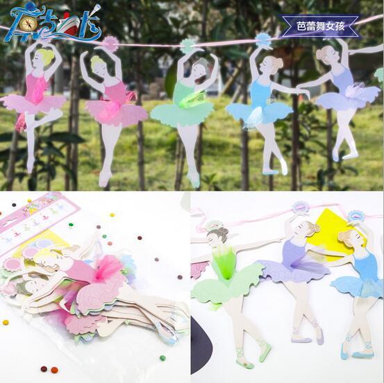 Ballet de chicas carta de papel Bandera bandera niña Princesa banderas baby shower Fiesta de adultos suministros de cumpleaños