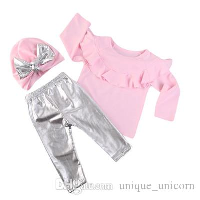 Set Newborn Kids Baby Girl Clothes Pink Ruffle Tops+ Silvery Pants +Bow Hat Outfits Clothing Set
