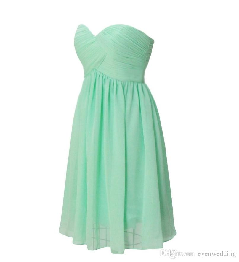 Sweetheart Short Chiffon Bridesmaid Dress With Pleats 2017 Knee Length Ball Gown Party Dress Lace Up