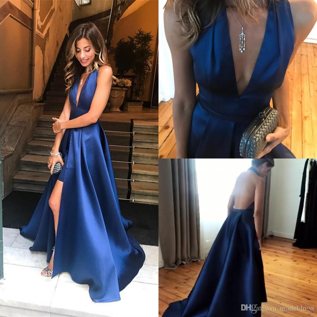 d55a211b134 Open Back Sexy Prom Dresses 2018 Deep V Neck Lace Pleats Long Front Split Royal  Blue Evening Party Pageant Gowns Cheap Custom Made Royal Blue Prom Dress ...