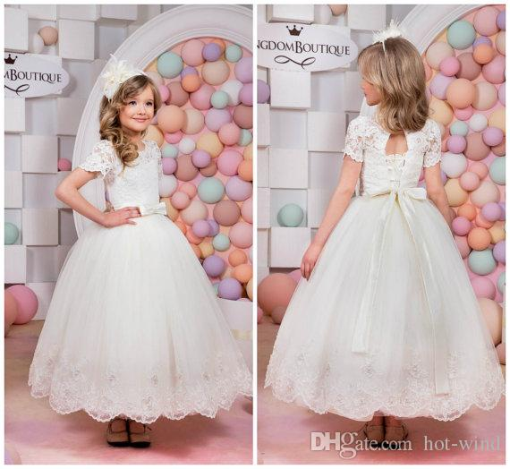 d82f2b9f52 Princess Short Sleeves Flower Girl Dresses Lace Appliques With Bow Sash Lace  Up Back Little White Dresses Baby Girls First Communion Dresses Patterns  For ...