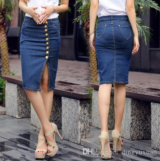4a120416f848 2019 Black Blue Grey Asymmetric Button Front Slit Pencil Denim Skirt Women  Summer Style High Waist Sheath Jeans Skirt Plus Size 5XL 6XL From  Dingyuxuan, ...