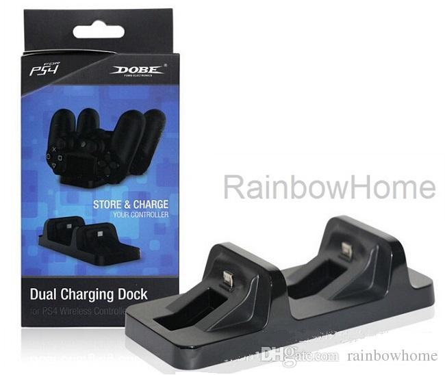 Dual USB Charging Dock-Station Mini Charger Ständer Halter für PS4 Wireless Controller Sony PlayStation Dualshock 4 USB-Kabel Retail Box