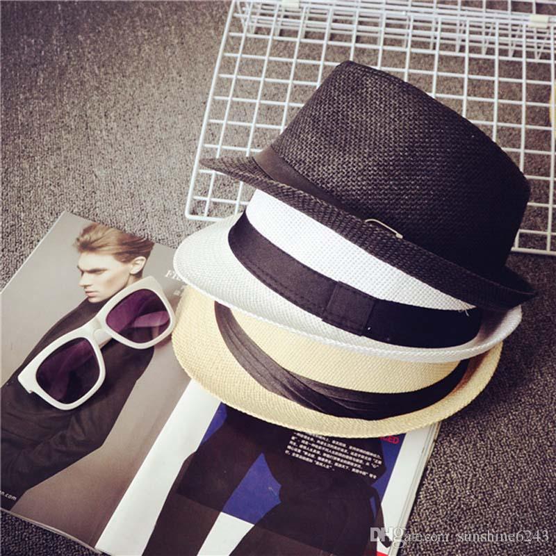 Ucuz Vogue Erkek Kadın Şapka Çocuk Çocuk Hasır Şapka Kap Yumuşak Fedora Panama Kemer Şapka Açık Cimri Ağız Kapaklar Bahar Yaz Plaj