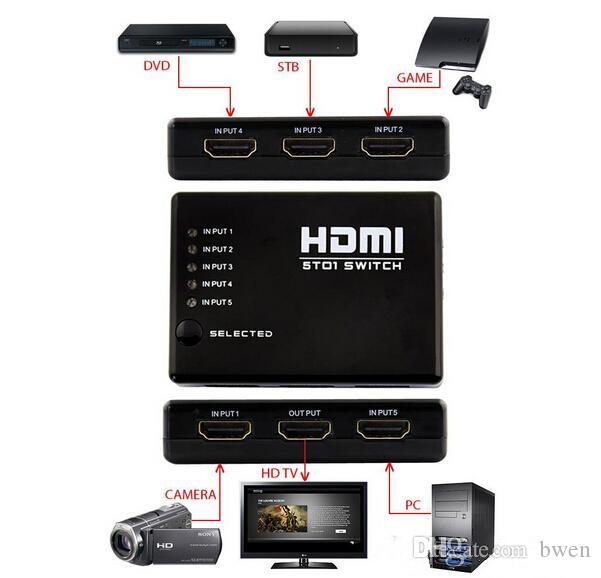 High Quality 5 Port 5 in 1 Out 1080P Video HDMI Switch Switcher Splitter for HDTV PS3 DVD XBOX 360 with IR Remote