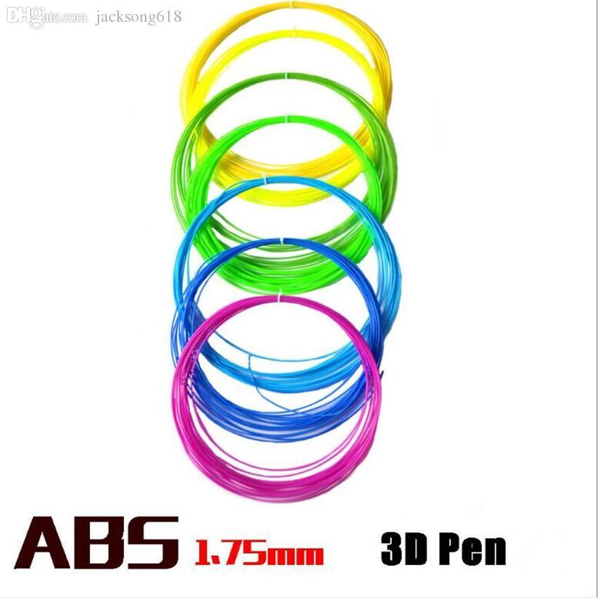 Nuovo filamento della penna del filamento del disegno 3d dell'ABS della stampante 3D 10m i 1.75MM filamento di plastica della penna della stampante di consumo di plastica variopinta dei consumabili