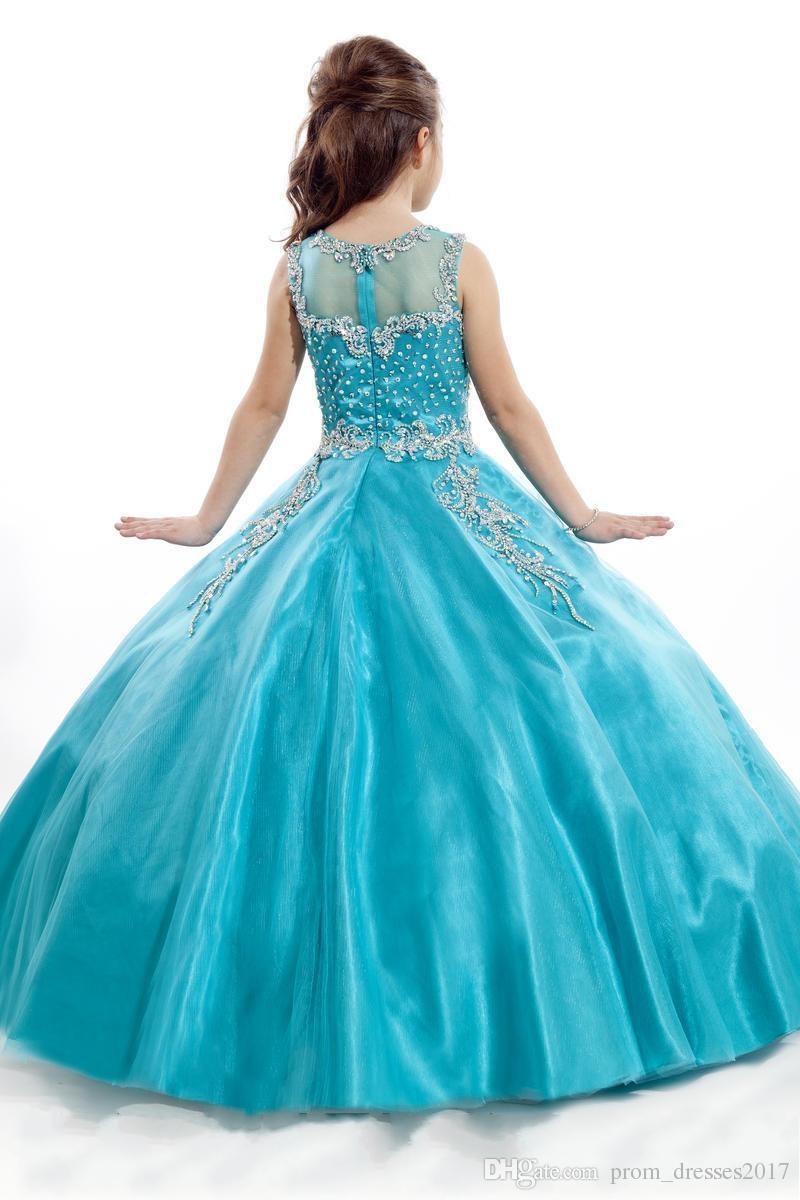 2020 Novos Meninas Pageant Vestidos Princesa Tule Sheer Jewel Cristal Beading Branco Coral Crianças Flor Meninas Vestido Vestidos de Aniversário Hy1187