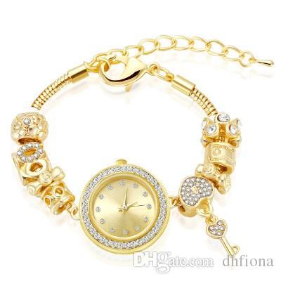 b6d4f4e03499c Compre 18 K Brilhante Banhado A Ouro Fit Pandora Pulseira Relógio Murano  Vidro Europeu Beads Encantos Pulseiras 27 Cm Cadeia De Cobra Pulseiras De  Ouro Para ...