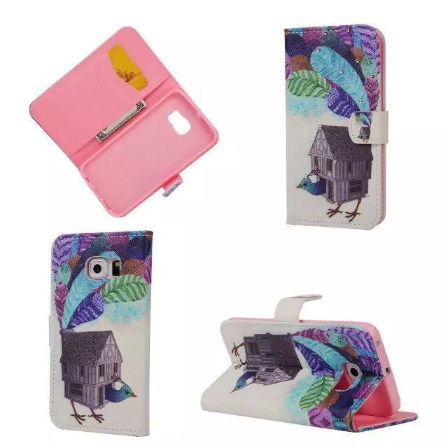 Samsung A3 A5 A7 A8 S5 S6 Bordo Note 4 5 Diamond Wallet Custodia in pelle tpu cover casa giraffe tower butterfly Flower