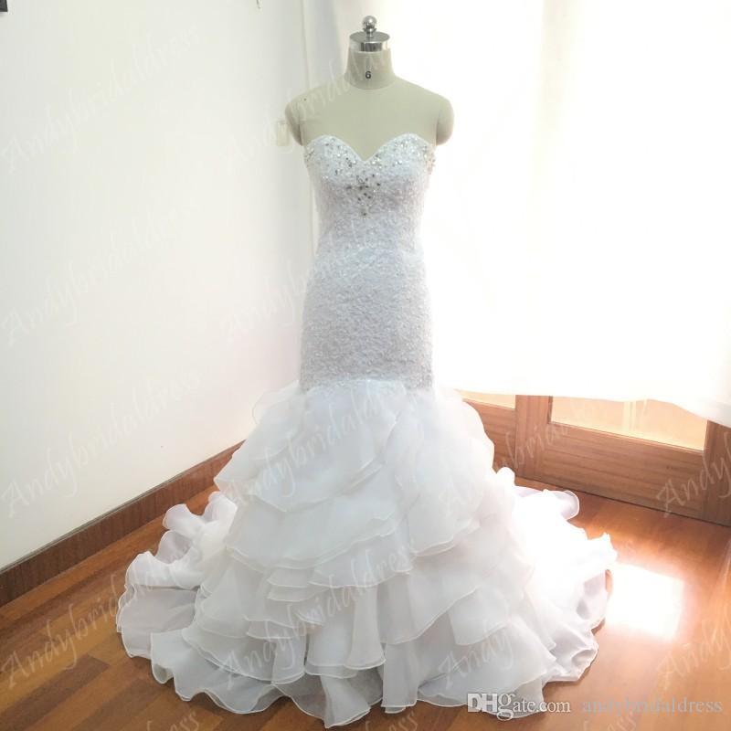 2017 свадебное платье русалки свадебное платье кружево свадебное платье реальный дизайн оборки