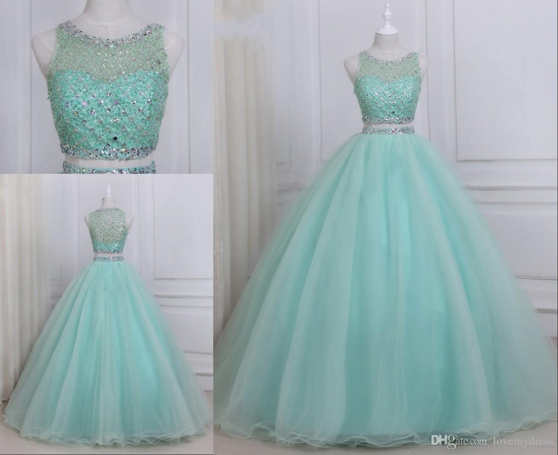 dc2846c8b00 Stunning Mint Ball Gowns Prom Dresses Two Pieces Tulle Luxury Rhinestones  Beaded Hollow Back Jewel Sheer Neck Long Party Evening Dress Gowns Tall Prom  ...