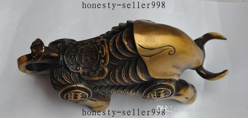 Old Chinese fengshui Bronze Prosperous wealth Money Coin Zodiac Bull Ox Statue