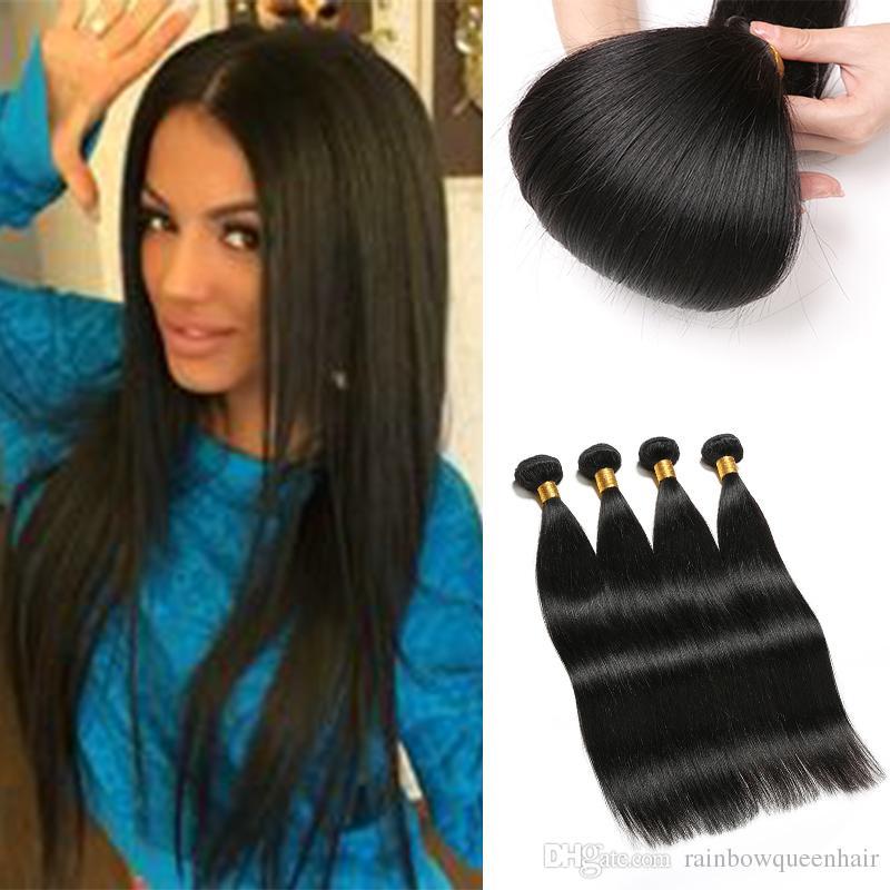 Rainbow Queen Silky Straight Human Hair Weave Virgin Brazilian
