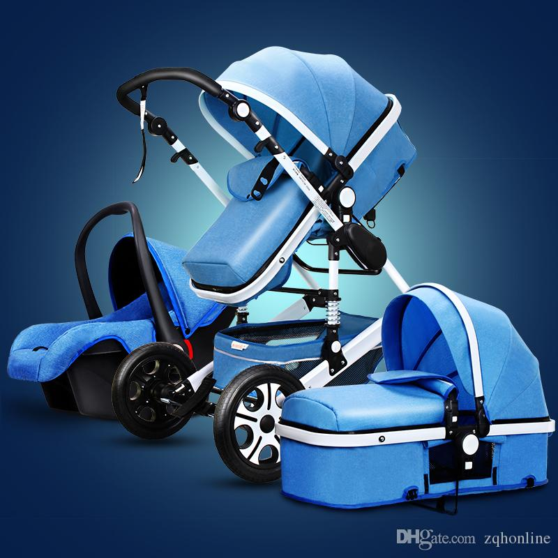 Fashion Baby Stroller 3 in 1 with Car Seat, Baby Pram Folding Baby Travel System Poussette 3 en 1