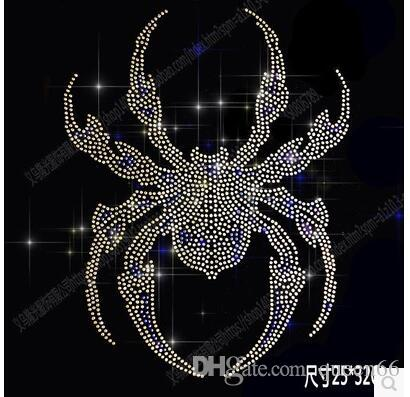 Shiny spider DIY 25*32cm bling crystal patterns clothing accessories Hot Fix Rhinestones motif Heat Transfer on Design Iron On clothes
