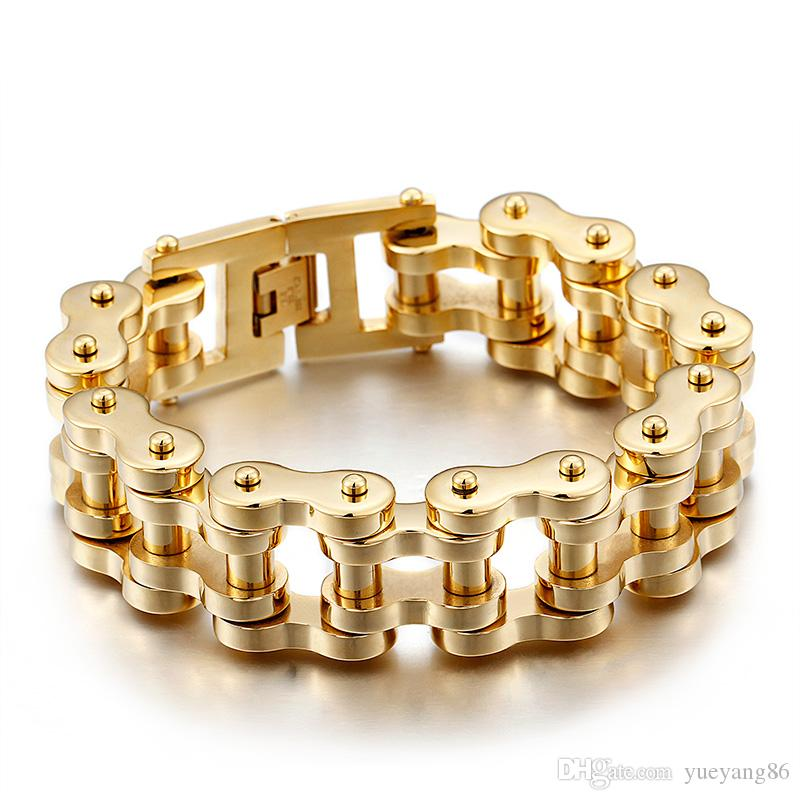 sorseggiando gratuitamente GNAYY 201g pesante color oro acciaio inossidabile grande motociclista catena da moto braccialetto da uomo grande braccialetto 9 '' regali di natale