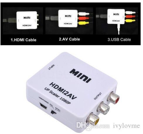 Convertitore HDMI Da HDMI a AV Convertitore analogico digitale RCA Da HDMI  a AV Prese di fabbrica audio video HDMI2AV 1080P Spedizione gratuita DHL